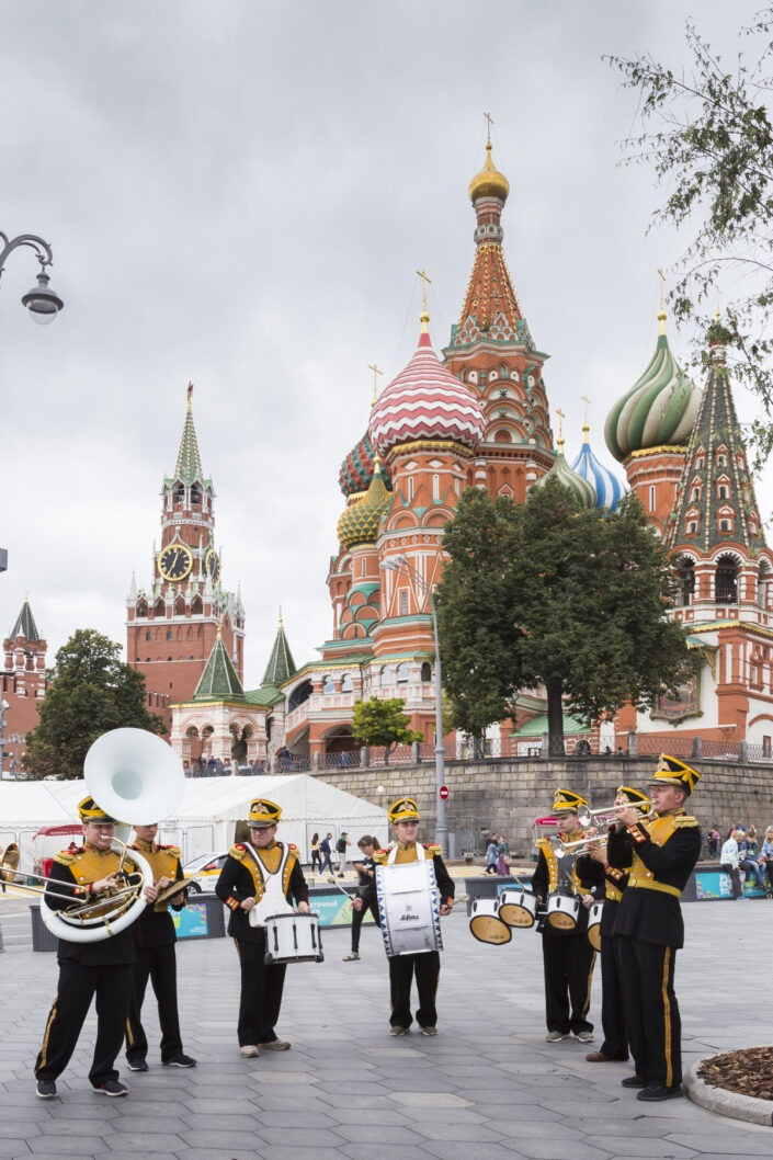 Fanfare, russe, place rouge, Moscou, Russie
