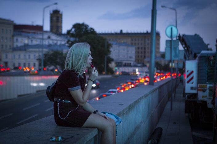 Jeune, femme, soir, moscovite, Moscou