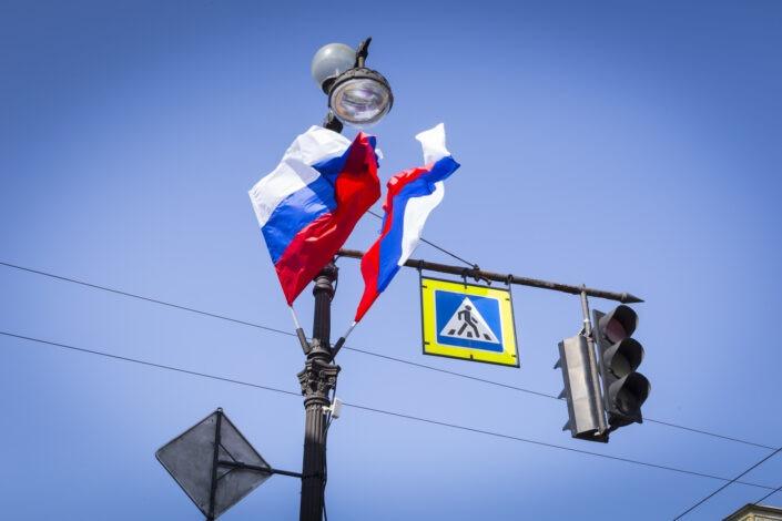 Drapeaux, russes, Saint-Petersbourg
