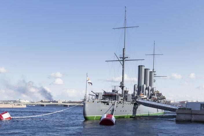 Le croiseur Aurore, bateau, guerre, Saint-Petersbourg,russie