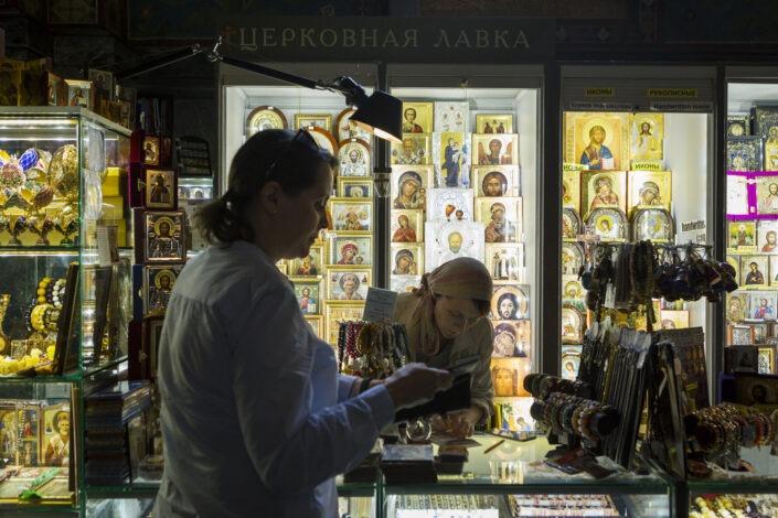 Cathedrale, intérieur, femme, boutique, Saint-Petersbourg