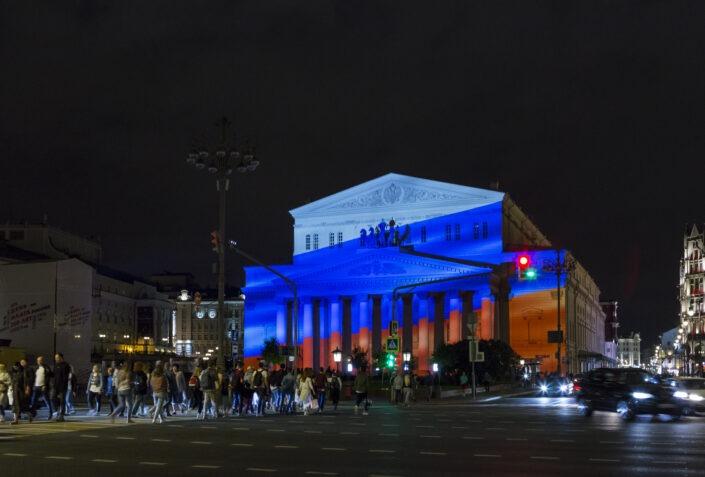 theatre, Bolchoï, Moscou, nuit