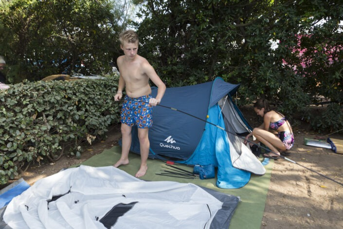 Installation famille camping